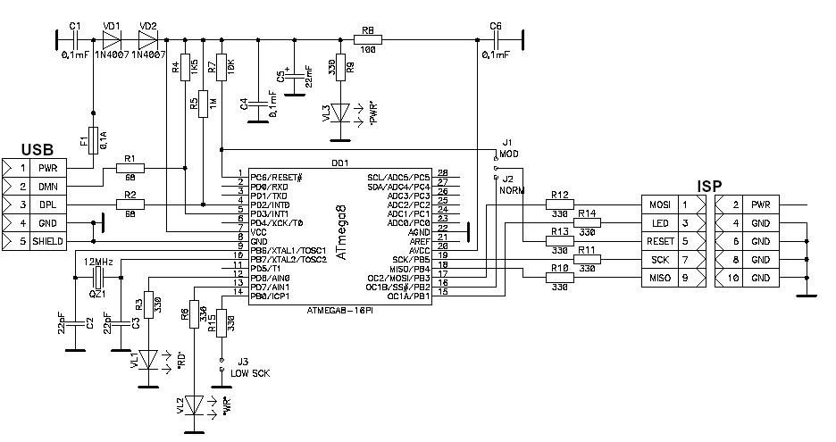 схема программатора AVR910 usb